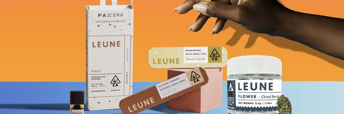 Assorted LEUNE cannabis products including joints, flower, PAX pods, and oils.