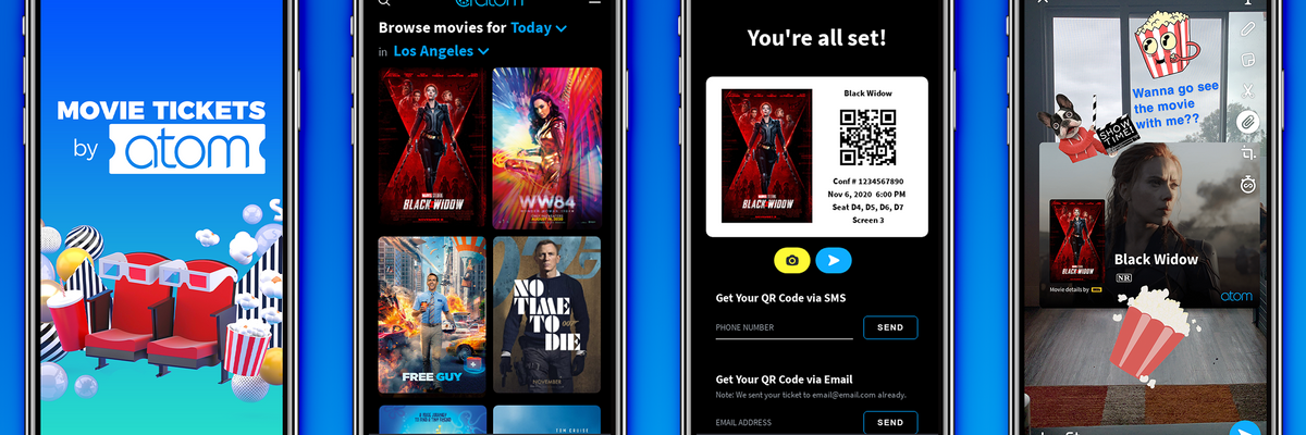 As Theaters Begin to Open, Atom Tickets Opens up Shop on Snap
